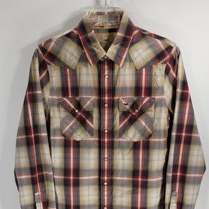 Hollister Western Style Red Blue Plaid Men's Shirt